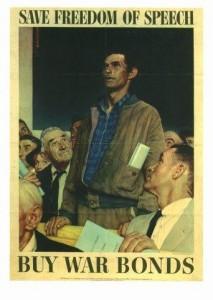 Norman Rockwell: Kauft Kriegsanleihen-Für die Redefreiheit Plakat, Kriegspropagandaministerium der USA, 1943
