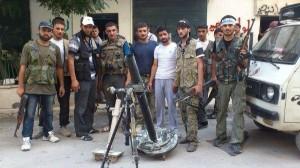 Terroristen der FSA um ihren Mörser posierend - Bild: politaia