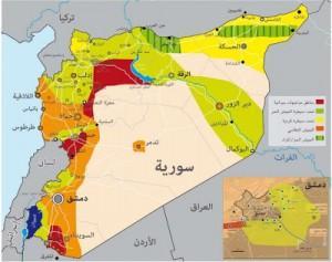 Orange - Kontrolle durch die Regierung Grün - Kontrolle durch die Rebellen Gelb - kurdische Autonomien Grün gestreift - FSA-alliierte Kurden Blau - okkupiertes Gebiet Rot - intensive Zusammenstöße
